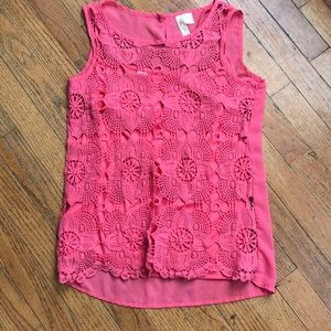 Coral Crochet tank with attached tank top.